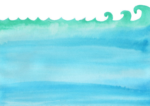 Ocean wave and under the sea watercolor hand painting for decoration on background.