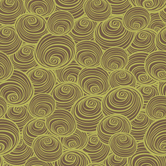 Vector brown and green swirls spirals repeat pattern. Perfect for fabric, scrapbooking, wallpaper projects.