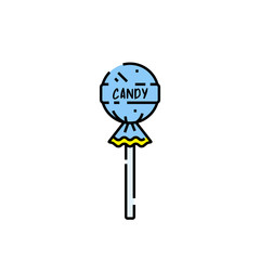 Lollipop candy line icon. Lolly symbol. Blue sweet fizzy sucker. Vector illustration.
