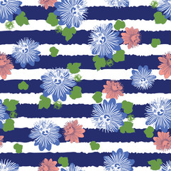 Vector indigo blue stripes seamless pattern with leaves and wild flower. Suitable for textile, gift wrap and wallpaper.