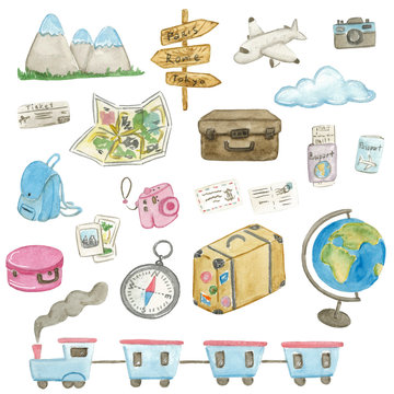 Large watercolor travel set with different types of transport, tickets, passports, globe and other cute items on white background.