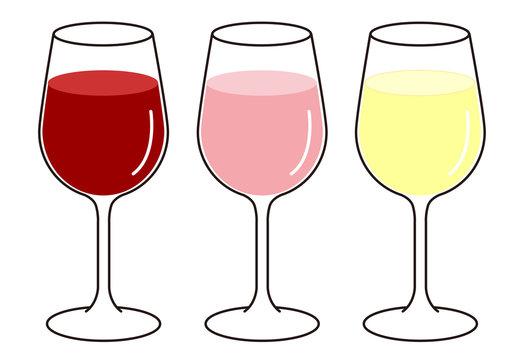 グラスワイン 赤 白 ロゼ セット イラスト