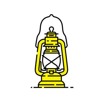 Yellow lantern line icon. Old lamp symbol. Kerosene camp light graphic. Vector illustration.