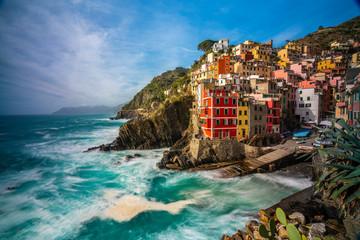 Poster Mediterraans Europa Riomaggiore in Cinque Terre,La Spezia province in Liguria Region, northern Italy