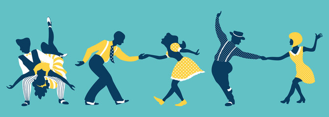 Group of people dancing  lindy hop or boogie woogie. Men and women in 1940s or 1950s style performing swing. Vector illustration in trendy colors.