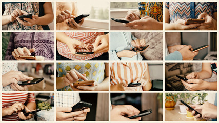 Close-up of young woman hands typing sms and scrolling pictures on modern mobile smart phone. Smartphone is a modern gadget for connect people. Collage