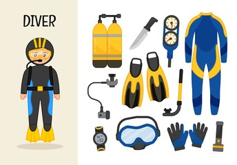 Vector character diver. Illustrations of diver equipment. Set of cartoon professions.