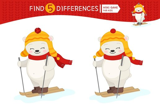 Find differences.  Educational game for children. Cartoon vector illustration of white polar bear skiing.