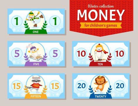 Vector set of paper money for children's games. Cute cartoon animals. Learning material for kids.  Winter collection.