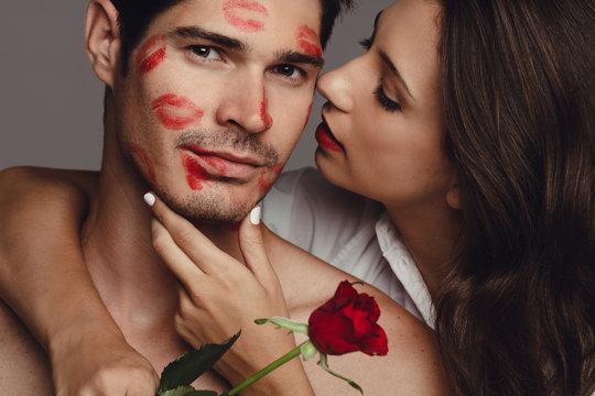 Young amorous couple