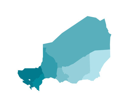 Vector isolated illustration of simplified administrative map of Niger. Borders of the regions. Colorful blue khaki silhouettes