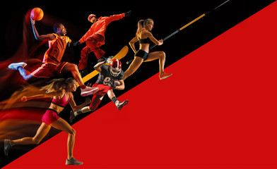 Creative collage of sportsmen in action of game. Black and red background. Advertising, sport,...