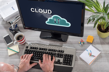 Cloud concept on a computer