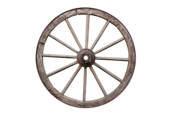 Carriage Wooden Wheel. Cartwheel All Weathered and Rusty Isolated On White Background