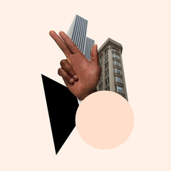 Big city life's inspiration. Skyscrapers and human's hand on pink background. Negative space to...
