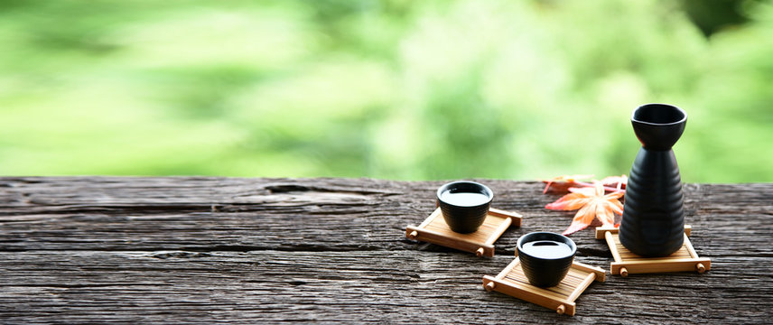 japanese sake oriental drink style on the table,copy space