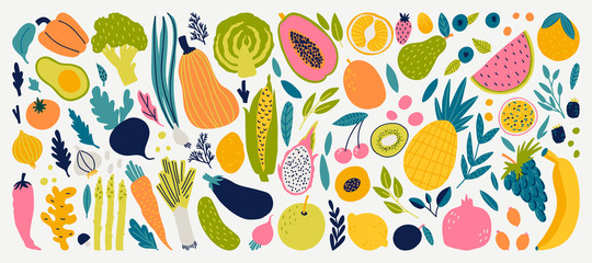 Autocollant pour porte Cuisine Vector colorful food set for your design. Cute doodle illustration with vegetables and fruits isolated on white background.