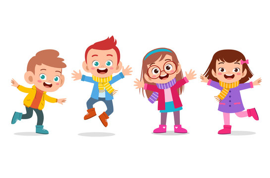 happy kids autumn vector illustration