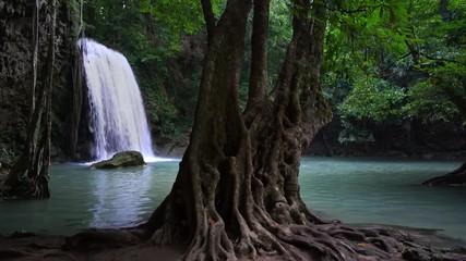 Wall Mural - Erawan waterfall national park third level, shady landscape, at Kanchanaburi, Thailand, Lockdown.