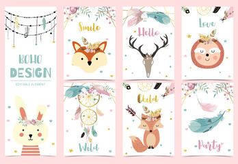 Collection of boho cards set with feather,dreamcatcher,fox,sloth,rabbit.Vector illustration for birthday invitation,postcard and sticker.Editable element