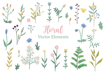 Wall Mural - Floral object collection with dry tree,flower,leaves.Illustration for sticker,postcard,wedding invitation,element website