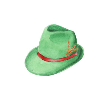 Hand painted watercolor bavarian green felt hat. Tyrolean traditional hat