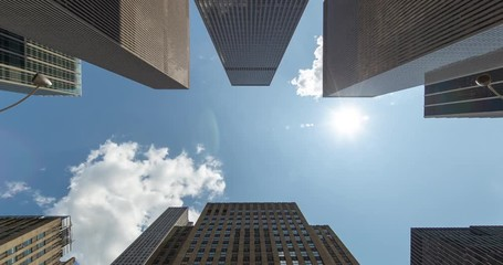 Fototapete - Corporate office buildings low angle timelapse