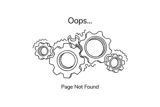 Page not found template for website. Non-working gears. Broken mechanism with a wrench vector illustration. Jammed mechanism