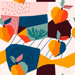 Hand drawn peaches and various shapes, spots, dots and lines. Different colors. Abstract contemporary seamless pattern. Modern patchwork illustration in vector