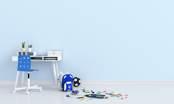 School supplies in light blue room for mockup, back to school concept, 3D rendering