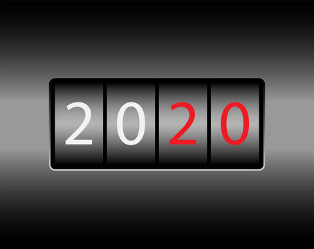 Odometer with numbers 2020. New 2020 on the odometer. White and red numbers, black background.