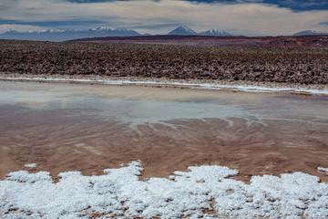 Salt pond and Licancabur volcano peak in the background