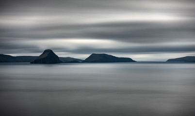Long exposure high contrast of islands in the middle of the ocean