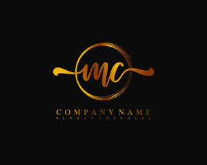 MC Initial handwriting logo with circle hand drawn template vector