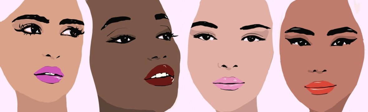 Illustration Make up on different races of woman. Girls with make up different ethnicity and skincolor