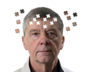 Front view and face of senior caucasian man worried of mental illness, dementia or Alzheimer's disease using jigsaw concept