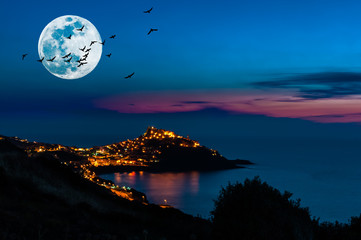 Landscape of castelsardo by night