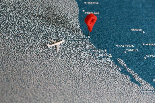 handmade  blue map with pin, america