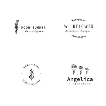 Botanical Simple Hand Drawn Logo with Wild Flower and Leaves. Trendy flower Logo