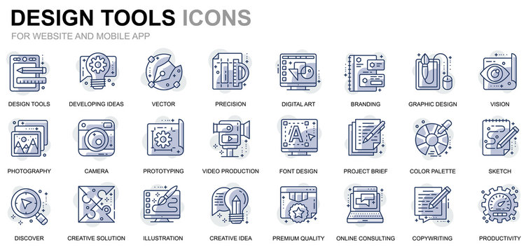 Simple Set Design Tools Line Icons for Website and Mobile Apps. Contains such Icons as Creative, Developing, Precision, Vision, Sketch. Conceptual color line icon. Vector pictogram pack.