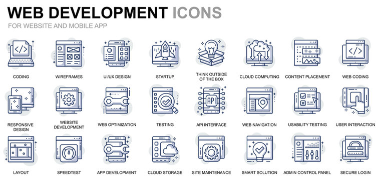 Simple Set Web Disign and Development Line Icons for Website and Mobile Apps. Contains such Icons as Coding, App Development, Usability. Conceptual color line icon. Vector pictogram pack.