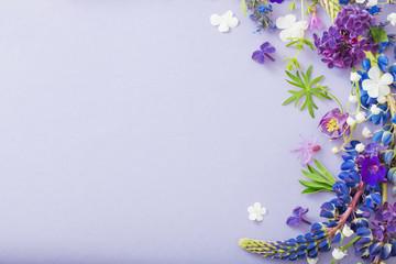 Canvas Prints Floral purple, blue, pink flowers on paper background