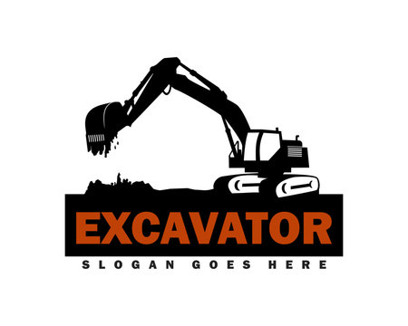 Excavator Logo Designs Template Vector Illustration