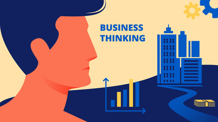 Profile Man on City Background. Business Thinking.