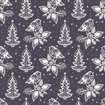 Seamless pattern. Hand drawn Christmas robin bird background. Frosty snowflake fir tree all over print. Winter holidays paper.