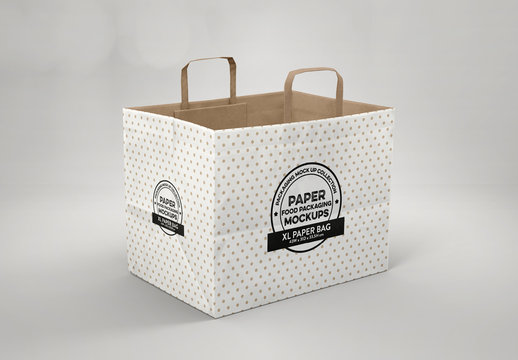 Open Large Paper Bag with Flat Handles Mockup
