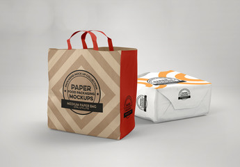 Paper Medium Bag with Flat Handles Mockup