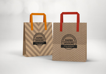 Paper Small Bag with Flat Handles Mockup