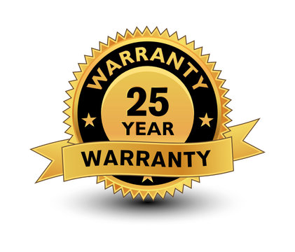 High quality golden 25 year warranty badge, sign, seal, label, stamp with ribbon.