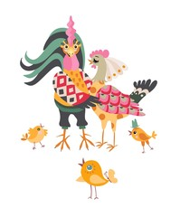 Chicken family on white background. Beautiful card. Cute cartoon rooster hugged hen.